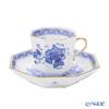 Herend 'Indian Basket Blue / Fleurs des Indes' FB 04304-0-00 Octagonal Mocha Coffee Cup & Saucer