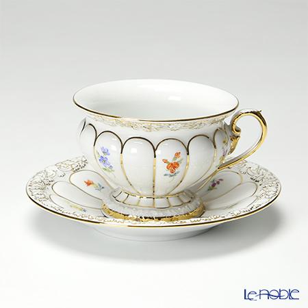 マイセン(Meissen) スキャタードフラワー X-Form(金彩縁) 010198/17582コーヒーカップ&ソーサー 200cc