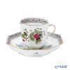 Herend 'Indian Basket Multicolor / Fleurs des Indes' FD 04304-0-00 Octagonal Mocha Coffee Cup & Saucer