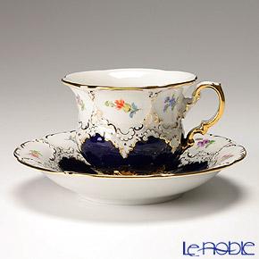 マイセン(Meissen) 宮廷の小花 011098/15582 コーヒーカップ&ソーサー 200cc(紺金彩)