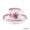Herend 'Indian Basket Pink / Fleurs des Indes' FP 04304-0-00 Octagonal Mocha Coffee Cup & Saucer