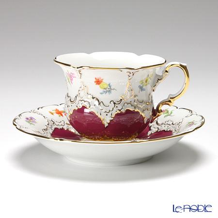 マイセン(Meissen) 宮廷の小花 012098/15582 コーヒーカップ&ソーサー 200cc(赤金彩)