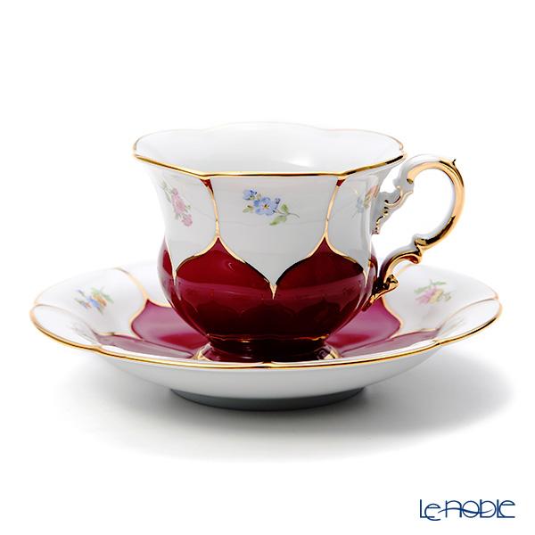 マイセン(Meissen) 宮廷の小花 コーヒーカップ&ソーサー 200cc(赤金彩) 012098/16582