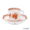 Herend 'Indian Basket Orange / Fleurs des Indes' FH 04304-0-00 Octagonal Mocha Coffee Cup & Saucer