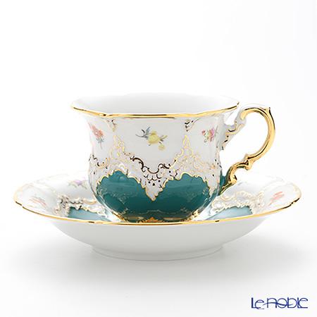 マイセン(Meissen) 宮廷の小花 014098/15582 コーヒーカップ&ソーサー 200cc(緑金彩)