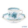 Herend 'Indian Basket Turquoise Blue / Fleurs des Indes' FTQ 04304-0-00 Octagonal Mocha Coffee Cup & Saucer