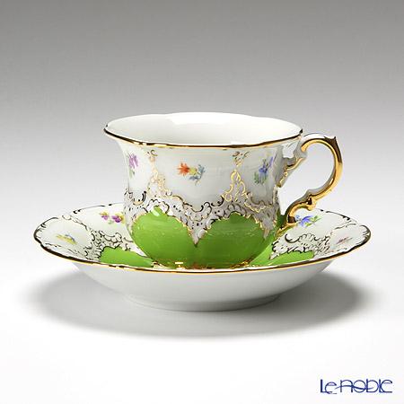 マイセン(Meissen) 宮廷の小花 015098/15582 コーヒーカップ&ソーサー 200cc(黄緑金彩)