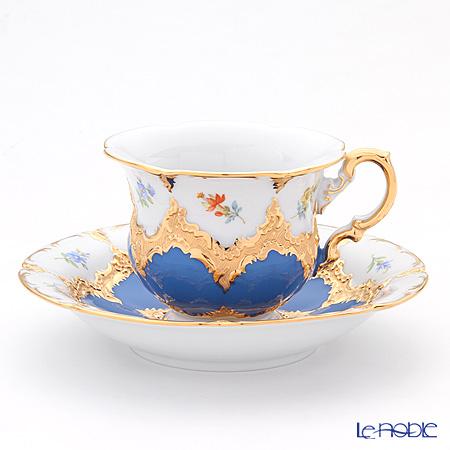 マイセン(Meissen) 宮廷の小花 016099/15582コーヒーカップ&ソーサー 200cc(青金箔)