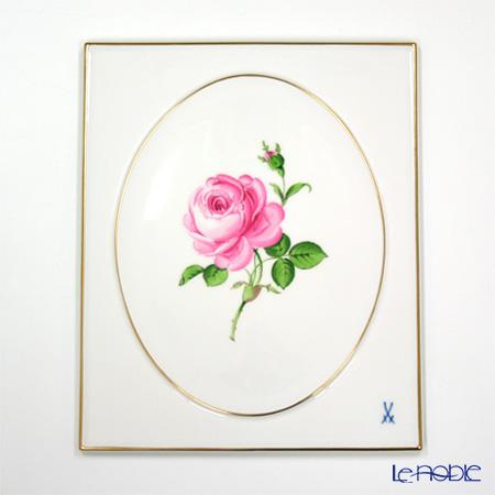 マイセン(Meissen) 陶板 020110/53n31ピンクのバラ 25×20.5cm