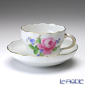 マイセン(Meissen) ピンクのバラ/忘れな草 020810/00582 コーヒーカップ&ソーサー 200cc