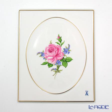 マイセン(Meissen) 陶板 020810/53n31 ピンクのバラ/忘れな草 25×20.5cm