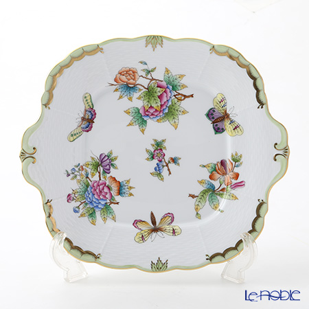 ヘレンド ヴィクトリア・ブーケ 00431-0-00 四角ケーキ皿 28×25cm