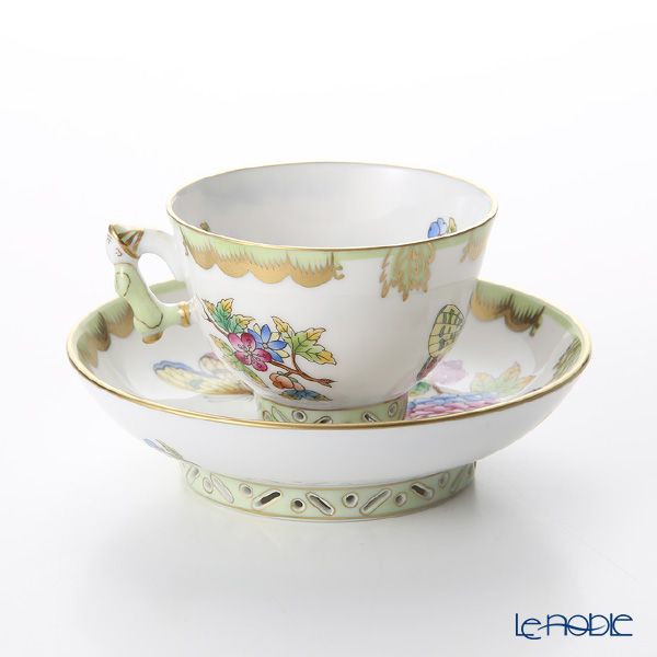 Herend 'Queen Victoria / Victoria avec Bord en Or' VBO 03371-0-21 Small Cup & Saucer (Mandarin handle / openwork) 100ml