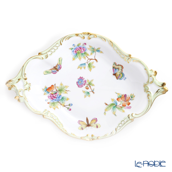 Herend Queen Victoria / Victoria avec Bord en Or VBO 07515-0-00 Fruit Dish (Diamond shape) 35.5x24cm