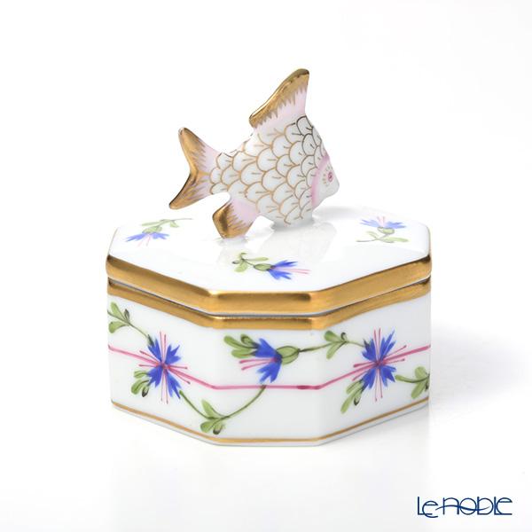 Herend 'Blue (Cornflower) Garland / Petits Bleuets en Guirlande' PBG 06105-0-28 Octagonal Box (Fish knob)