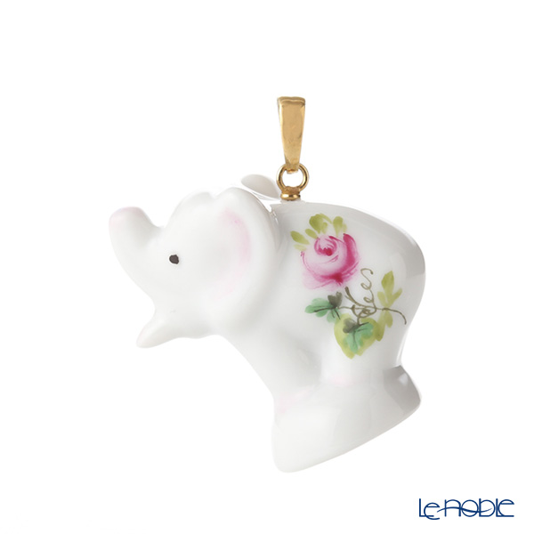 Herend 'Vienna Rose / Vieille Rose de Herend' VRH-E 05292-0-47 Elephant Pendant Top H3cm