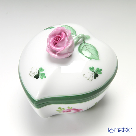 Herend 'Vienna Rose / Vieille Rose de Herend' VRH 06005-0-09/6004 Heart Box (Rose knob) H7cm