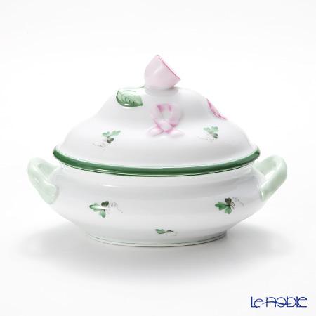 Herend 'Vienna Rose / Vieille Rose de Herend' VRH 06017-0-03/6017 Mini Tureen / Oval Box (with handles, Lemon knob) 13x9cm