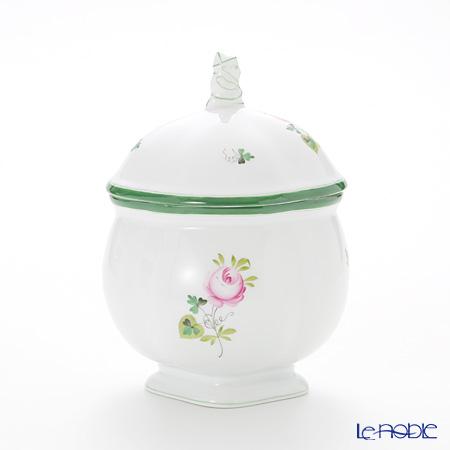 Herend 'Vienna Rose / Vieille Rose de Herend' VRH 06063-0-21/6064 Footed Tea Cadddy / Oval Box (Mandarin knob) H16cm