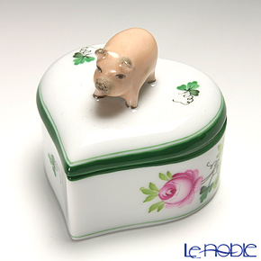 Herend 'Vienna Rose / Vieille Rose de Herend' VRH 06111-0-72 Heart Box (Pig knob) 6xH5.5cm