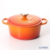 Le Creuset Signature Cocotte Ronde/Round Casserole 24 cm, orange (volcanique), cast iron