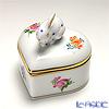 Herend 'Thousand Flowers / Mill Fleur' MF 06112-0-25/6112 Heart Box (Rabbit knob) 5xH5cm