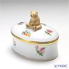 Herend 'Thousand Flowers / Mill Fleur' MF 06114-0-71 Oval Box (Bear knob) 7x4.8xH6cm
