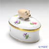 Herend 'Thousand Flowers / Mill Fleur' MF 06114-0-72 Oval Box (Pig knob) 7x4.8xH5cm