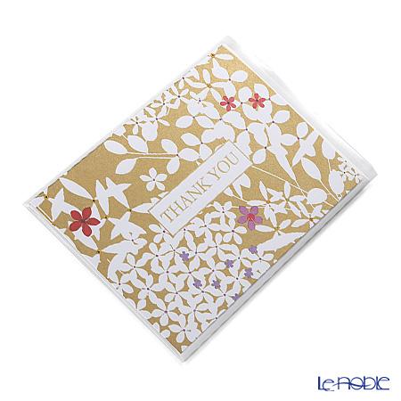 メッセージカード カスパリ 14.8×10.2cm(定形サイズ) BT83610 サンキュー フローラルレースゴールド