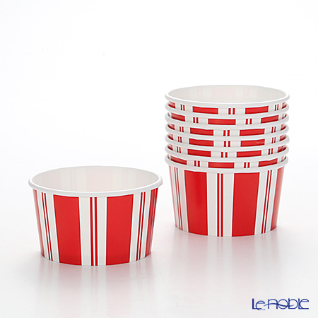 Caspari 'Awing Stripe' Red & White CPT13873 Treat Cup 280ml (set of 8)