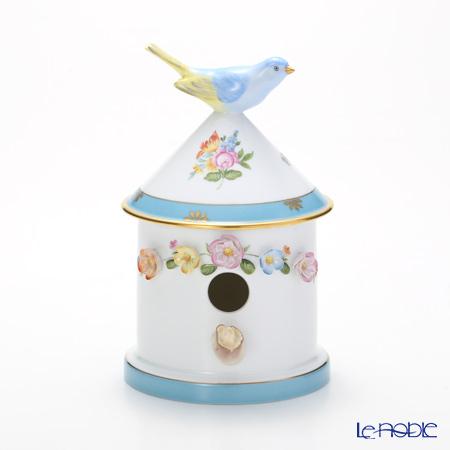 Herend 'Rose Tulip (1 line Garland) 3D Flower decor' Blue RTFB 06067-0-91 Bird House Box 13xH19cm