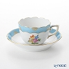 Herend 'Rose Tulip' Blue RTFB 20711-0-00 Mocha Coffee Cup & Saucer 100ml