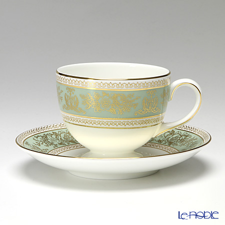 Wedgwood 'Columbia Sage Green' Leigh Tea Cup & Saucer 200ml