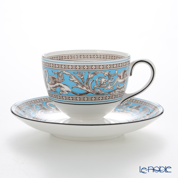 Wedgwood 'Florentine Turquoise' Blue Leigh Tea Cup & Saucer 200ml