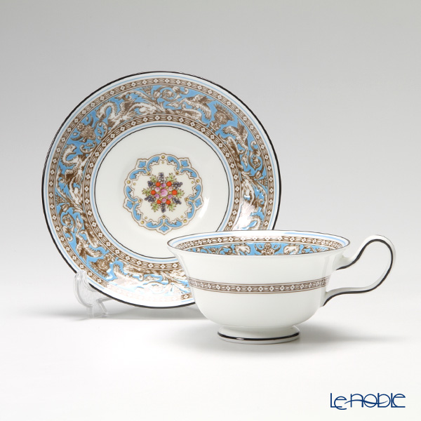 Wedgwood 'Florentine Turquoise' Blue Peony Tea Cup & Saucer 200ml