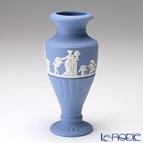ウェッジウッド(Wedgwood) ジャスパー ペールブルー フルーテッドフラワーベース(花瓶) 16cm