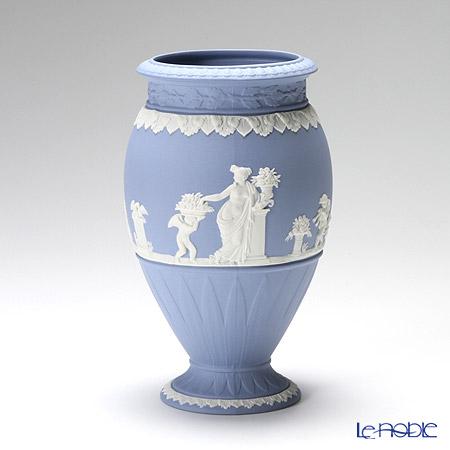 ウェッジウッド(Wedgwood) ジャスパー ペールブルー ボーンティフルベース(花瓶) 20cm