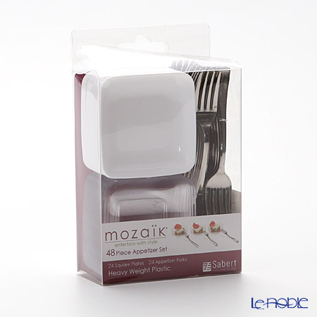 Mosaik 'Mini Appetizer & Dessert Tasting set' MZMMAPP48 Square Plate, Fork (set of 48 for 24 persons)