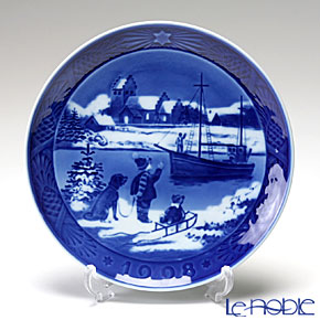 Royal Copenhagen Collectibles 'Boat Scene' [1998] Christmas Plate 18cm