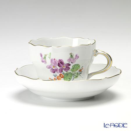 マイセン(Meissen) ベーシックフラワー(二つ花) 040110/00582/34 コーヒーカップ&ソーサー 200cc Motiv No.34 スミレ