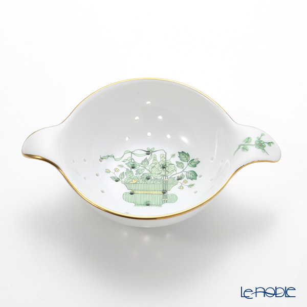 Herend 'Qing Flower Basket Green / Corbeille de Noces' CN 01453/01454 Tea Strainer with Bowl