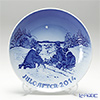 Bing & Grondahl Plate 2014 Plate - Sledge ride in the snow, 18 cm