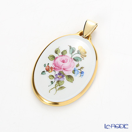 Augarten 'Rich Multicoloured Floral Bouquets' Rose / Gold-rimmed Pendant Top