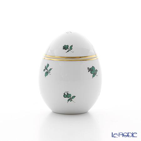 Augarten Green Scatterd Flowers Egg Box, Stand H8 cm, 5092/606
