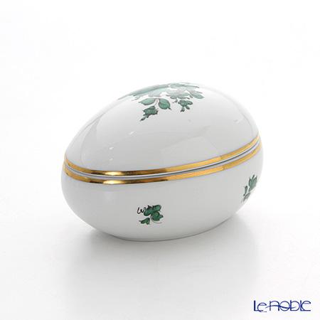 Augarten 'Maria Theresia' Green Lying Egg Box H5.5cm