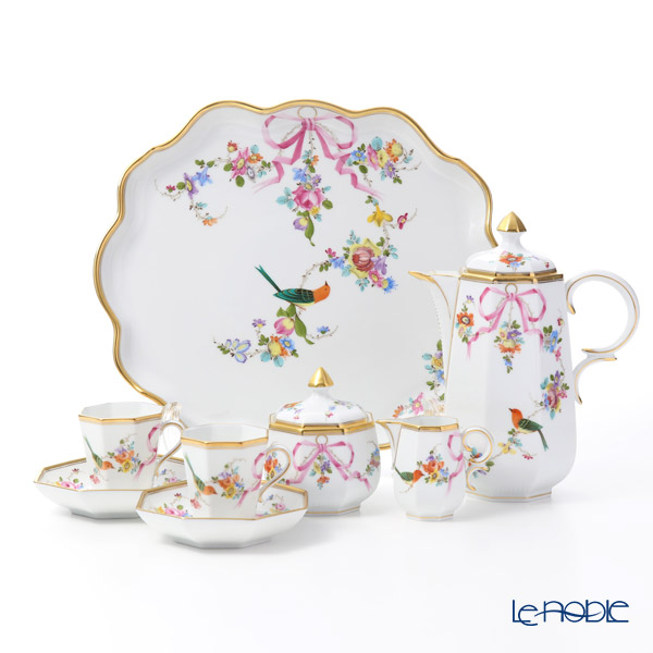 Herend 'Mediterranean Garden / Jardin Mediterraneen (Flower Ribbon Bird)' JM Coffee Cup & Saucer, Coffee Pot, Sugar Pot, Creamer, Tray (set of 6 for 2 persons)