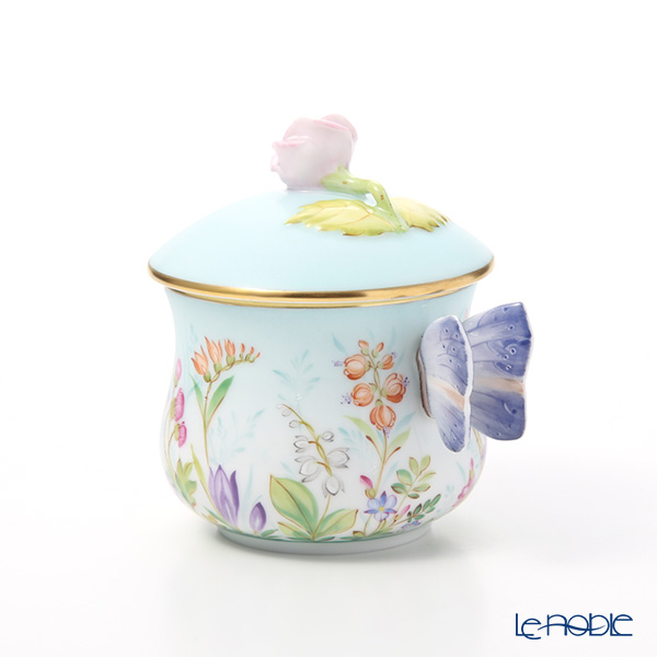 Herend 'Four Seasons / Quatre Saisons (Flower)' Blue QS 02385-0-91 Covered Cream Pot (Butterfly handle, Rose knob)