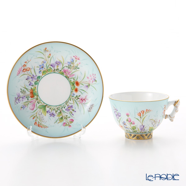Herend 'Four Seasons / Quatre Saisons (Flower)' Blue QS 03371-0-21 Mocha Coffee Cup & Saucer (Mandarin handle / openwork) 100ml