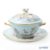 Herend 'Four Seasons / Quatre Saisons (Flower & Batterfly)' QS 20740-0-06 Soup Cup & Saucer with Lid (Twisted knob)
