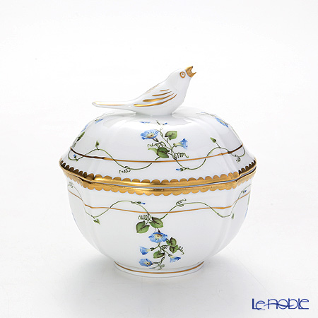 Herend 'Morning Glory Blue / Nyon' NY 04246-0-05 Round Box (Bird knob) 8.5xH9.2cm
